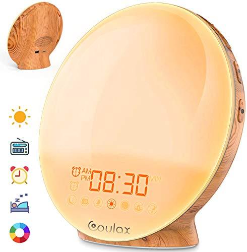 COULAX Lichtwecker Wake Up Licht Wecker Sonnenaufgang Sonnenuntergang Simulation Tageslichtwecker mit Zwei Alarmen 20 Helligkeit 7 natürlichen Klängen UKW-Radio Lichtwecker für Erwachsene und Kinder