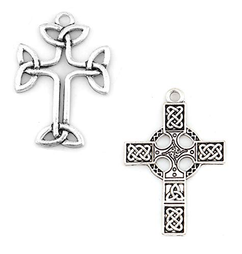 Celtic Cross Charms, 40 pc (20 of Each) Antiqued Silver Tone Pendants, About 1 1/2 Inch Long (Set B)