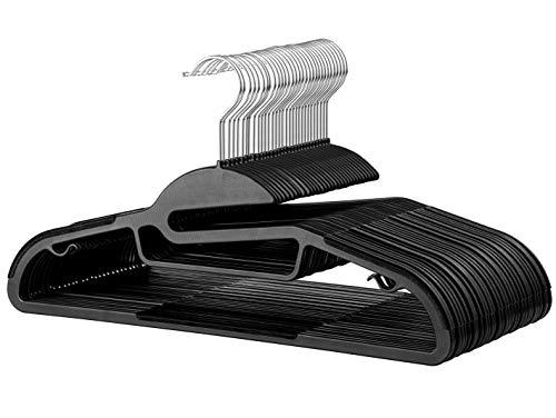 Rubber Coated Plastic Hangers (20 Pk) Non Slip Rubberized U-Slide Hanger, Ultra Thin Space Saving Suit Hanger, Non Slip Pants Hanger, Strong & Heavy Duty Plastic Coat Hanger, Strap Hooks, 360° Hook