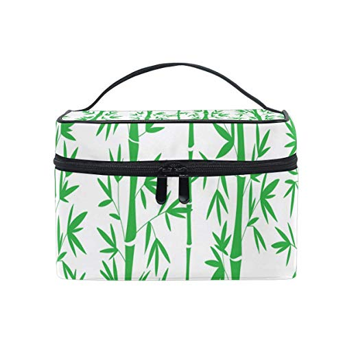Vanity et Trousses à Maquillage Makeup Cosmetic Bag Green Bamboo Pattern Chinese Portable Travel Train Case Toiletry Bags Organizer Multifunction Storage Travel Daily Carry