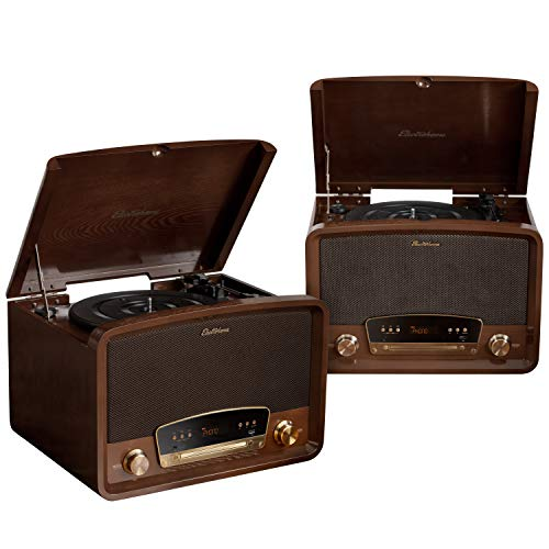 Electrohome Kingston 7-in-1 Vintage Vinyl Record Player Stereo System with 3-Speed Turntable, Bluetooth, AM/FM Radio, CD, Aux in, RCA/Headphone Out, Vinyl/CD to MP3 Recording & USB Playback - 2 Pack