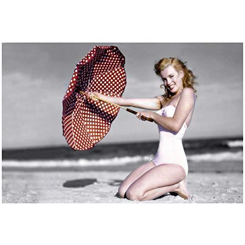 sjkkad klassieke filmkijkspelster Marilyn Monroe Beach canvas schilderij poster en afdrukken Scandinavische muur Pop Art schilderij voor de woonkamer -60x80 cm geen lijst