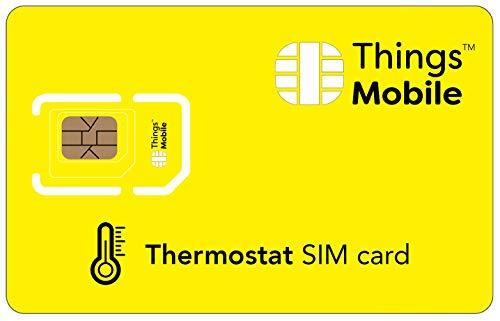 SIM-Karte für THERMOSTATE - Things Mobile - mit weltweiter Netzabdeckung und Mehrfachanbieternetz GSM/2G/3G/4G. Ohne Fixkosten unt ohne Verfallsdatum. 10 € Guthaben inklusive