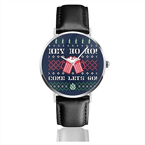 Hey Come Lets Go Weihnachten Bier Strickmuster Uhren Quarz Lederuhr mit schwarzem Lederband für Sammlung Geschenk