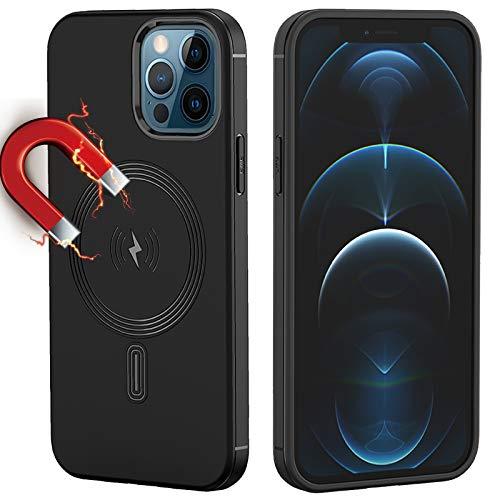 Magnetiskt fodral kompatibelt med iPhone 12 Pro Max, magnetiskt fodral med inbyggd magnetisk cirkel, stöd för magnetisk trådlös laddning, skyddskåpa (för iPhone 12 Pro Max-6,7 tum, svart)