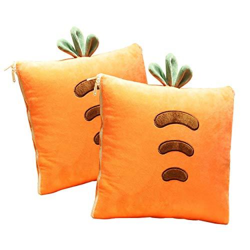 Ecloud Shop Manta Creative Cushion 2 en 1 Pillow Quilt Cojín Multifuncional Cojín Respaldo Cojín Suave y Cálido Siesta Mat Cojines para Sofá Cama Silla de Oficina (2 Piezas, Zanahoria)