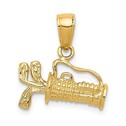 14ct macizo pulido 3-relieve en bolsa de Golf con de palos de para pulsera - mide 17,1 x 14,9 mm - JewelryWeb