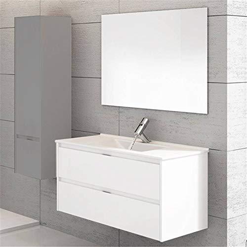 THERMIKET Mueble de Baño con Lavabo de Porcelana Suspendido - 2 cajones - Mueble va MONTADO - Modelo Ibiza (Blanco, 80cm)