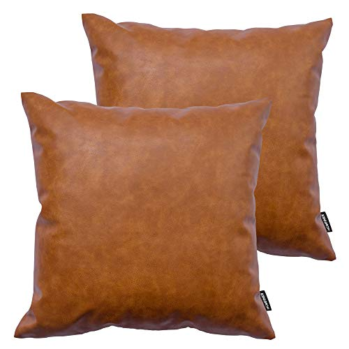 HOMFINER Faux Leather Throw Pillow Covers, 18 x 18 inch Set of 2 Thick Cognac Brown Modern Solid Decorative Square Bedroom Living Room Cushion Cases for Couch Bed Sofa