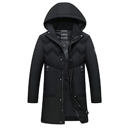 ZWHDS jas met capuchon, gevoerd, voor de winter, casual zak met ritssluiting, dik gevoerde jas, lange laag van katoen, recht, middeleeuws