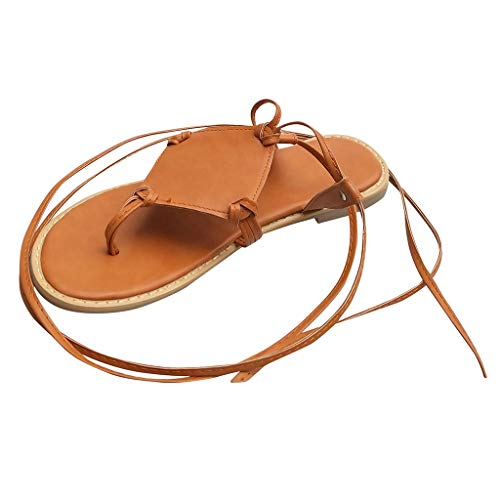 Womens Summer Casual Flat Roman Gladiator Strap Sandals Shoes Comfy Bohemian Beach Shoes 2020 (Brown, US:10.5)