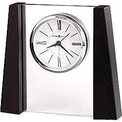 Howard Miller Dixon Table Clock 645-802 – Black Satin and Jade Glass with Quartz, Alarm Movement