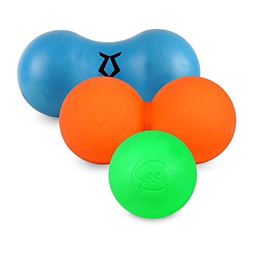 Zen Core Massage Ballset Original - Duoball aus Hartgummi, Faszienrolle aus Weichgummi, Massageball aus Hartgummi 3er Set sehr praktisch und geeignet für Triggerpunkt- & Faszienmassage