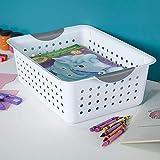 Sterilite 16248006 Medium Ultra Basket, White Basket w/ Titanium Inserts, 6-Pack
