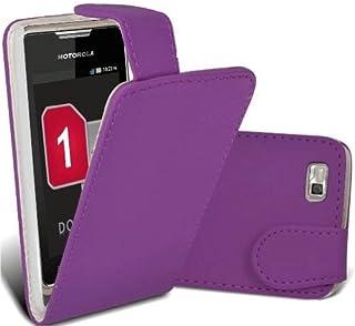 Motorola XT390 lila PU-läder flip fodral + gratis skärmskydd - en del av Fab mobiltelefontillbehör sortiment