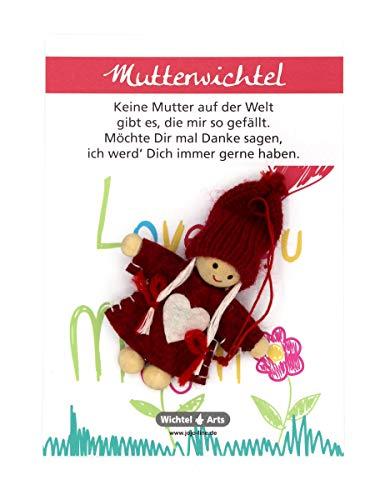 Wichtel Arts Mutterwichtel Glücksbringer, Holz, Rot mit weißem Herz, 15 x 10.5 x 2.7 cm