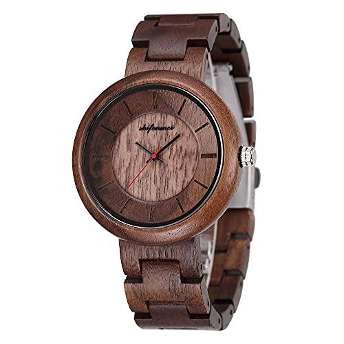yuyan Señoras de ébano de Madera Reloj de Madera Preciosa Reloj de Cuarzo Ligero, cómodo, Transpirable, Saludable y Respetuoso con el Medio Ambiente