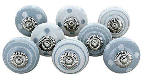 G Decor graues Weiß 8 Keramiktürknäufen Shabby Chic Vintage Schrank Schublade Zuggriffe von