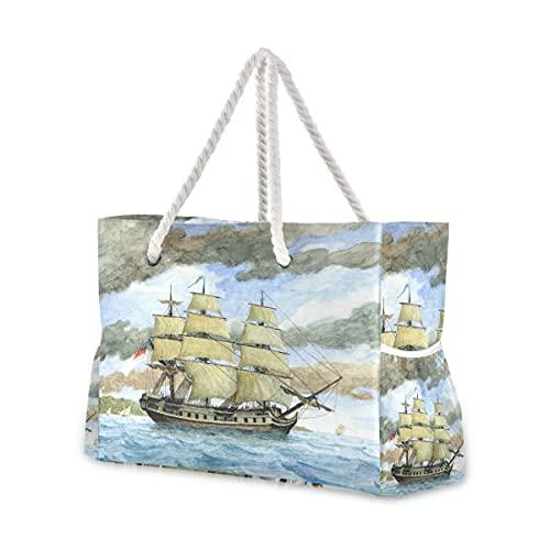 Bolsas de playa grandes Totes lona Tote bolsa de hombro 1 pintura acuarela flotante barco resistente al agua bolsas para gimnasio viajes diario