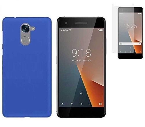 Todobarato24h Funda TPU Lisa Azul Vodafone Smart V8 (5.5) + Protector Cristal Templado
