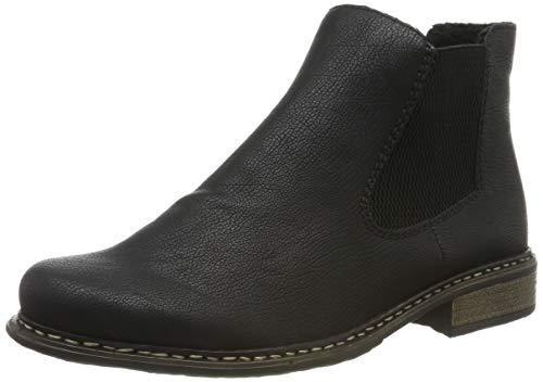 Rieker Damen Stiefeletten Z4994, Frauen Chelsea Boots, Lady Ladies feminin elegant Women's Women Woman Freizeit leger,schwarz/schwarz,40 EU / 6.5 UK