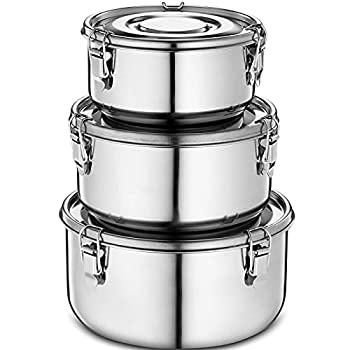 Klee Utensils 3-Piece Airtight Stainless Steel Food Storage Containers with Lids