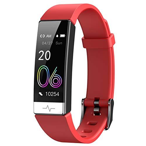 LYB Pulsera Inteligente Monitor De Ritmo Cardíaco Sangre Presenta Whatsapp Recordatorio Impermeable IP68 SmartBand para iOS Android Red
