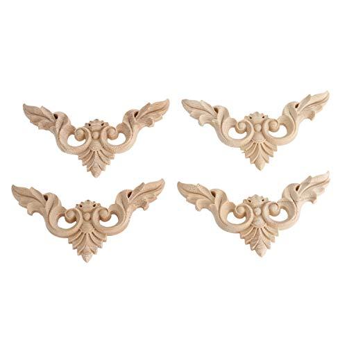 Senmubery 4 piezas de madera tallada molduras aplique esquina calcomanía Onlay para puerta armario armario muebles hogar rosa sin pintar esculturas puerta calcomanía
