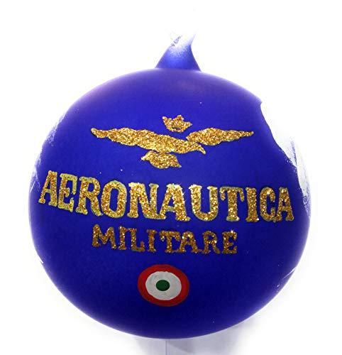 AERONAUTICA Pallina di Natale Blu, in Vetro SOFFIATO, Dipinta A Mano, CONF. in Scatola Singola Militar