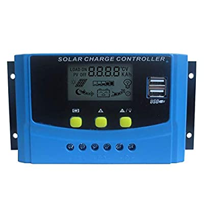 HUINE 40A 12V 24V LCD Digital Display PWM Solar Charge Controller Solar Panel Charge Regulator for Lithium ion Lifepo4 Lead Acid Battery with Dual 5V USB Settable Parameter