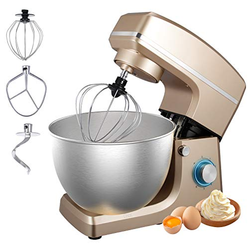 Stand Mixer, Sincalong 8.5QT 6 Speed Control Electric Stand Mixer with Stainless Steel Mixing Bowl and 3 Attachments, Food Mixer for Mix, Blend, Whip and Knead,Champagne