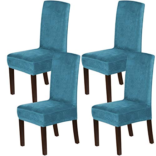 H.VERSAILTEX Velvet Dining Chair Covers Stretch Chair Covers for Dining Room Set of 4 Parson Chair Slipcovers Chair Protectors Covers Dining, Soft Thick Solid Velvet Fabric Washable, Peacock Blue