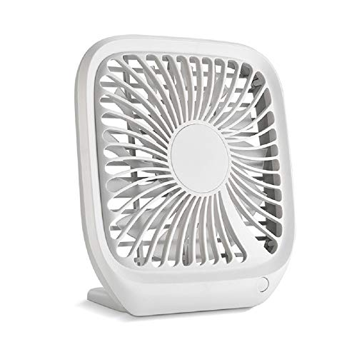 Heqianqian - Mini ventilador USB recargable para escritorio, oficina, hogar y viajes (3 velocidades) para el hogar, oficina, viajes al aire libre (color blanco, tamaño: tamaño libre)