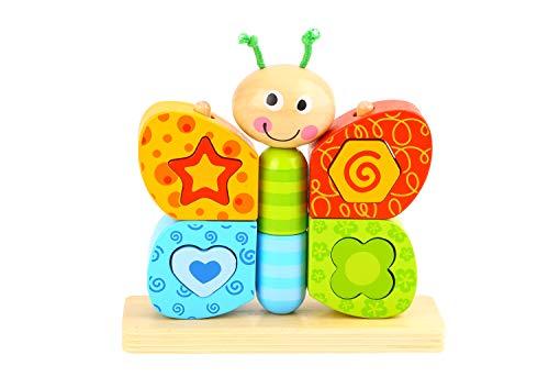 woody treasures Juguetes de madera – Juguete de madera de mariposa para niños pequeños – Juguetes educativos de forma geométrica – Madera natural premium con artesanía fina – Colores ultra brillantes