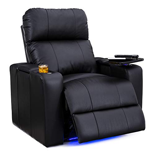 Seatcraft Julius Big & Tall 400 lbs Capacity Home Theater Seating Leather Power Recline with Adjustable Powered Headrest, USB Charging Port, and Lighted Cup Holders and Base, Black