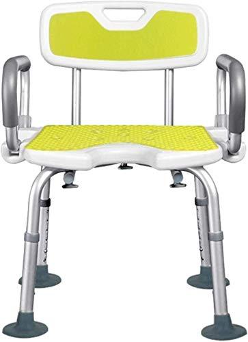 Universal Adjustable Bathroom Stool, Shower Chairs For Seniors, Bath Shower Chair for Elderly, Adjustable Bath Seat Shower Stool with Back, U Type Bathing Bench Reversible Armrest, Anti-Slip Suction C