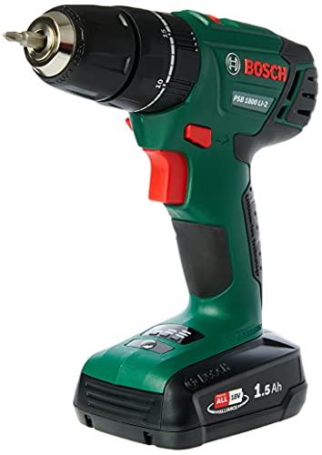BOSCH 06039A3376 PSB 1800 LI-2 (1 x 1,5 Ah) Akku-Schlagbohrmaschine, grün