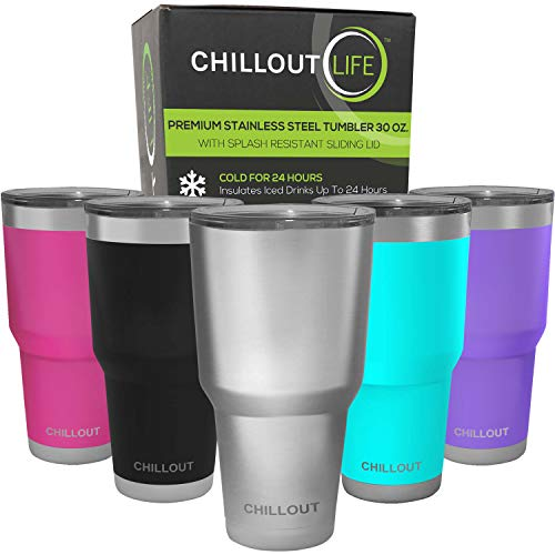 CHILLOUT LIFE 30 oz Stainless Steel Tumbler with Lid & Gift Box - Double Wall Vacuum Insulated Large Travel Coffee Mug with Splash Proof Lid for Hot & Cold Drinks