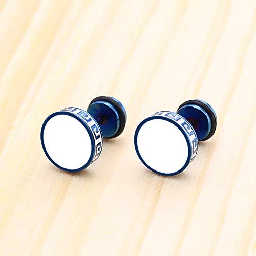 TTYJWDWY-Pendientes de botón Vintage de Forma Redonda para Hombres, Mujeres, Unisex, de Moda, de Acero de Titanio, para Fiestas, Color Azul