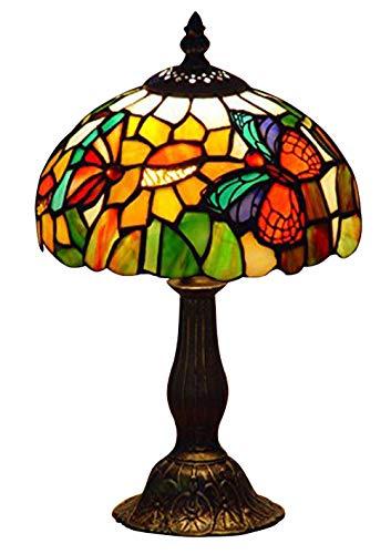 Nobeiyi Vitral Tiffany Estilo Mariposa Acento Lámpara de Mesa Anchura 8 Pulgadas 1xE14...