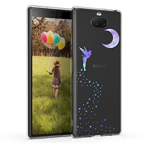 kwmobile Sony Xperia 10 Hülle - Handyhülle für Sony Xperia 10 - Handy Case in Fee Design Violett Mintgrün Transparent