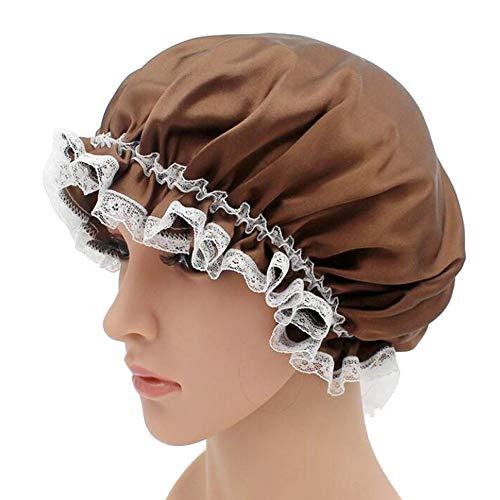 WJH Sleeping Cap pour Les Femmes en Soie Naturelle avec Sommeil Caps Bande élastique pour Cheveux Perte de Sommeil sur la Protection des Cheveux (2 pièces),Laiton