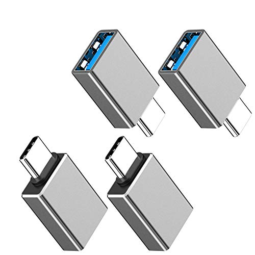 USB C to USB 3.0 Adapter 4-Pack, [Side-by-Side Use] USB C Male to USB Female OTG Adapter Compatible with MacBook Pro 2020 and Before, MacBook Air 2020 2019, iPad Pro 2020 (Space Gray)
