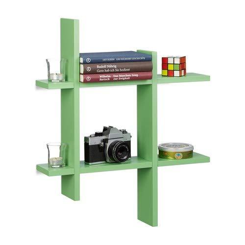 Relaxdays Estantería de Pared con 6 Compartimentos, Madera, Verde, 10x58.5x58.5 cm