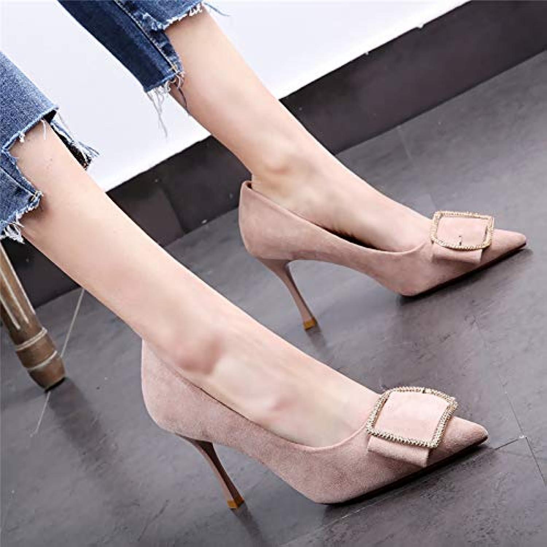 HOESCZS Apricot High Heels Heels Heels weiblich 2019 Frühjahr und Herbst Quadrat Schnalle Stilett Wilde einzelne Schuhe  97cc66
