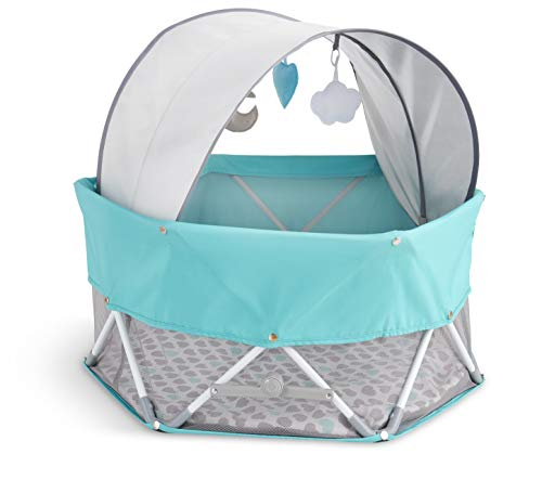 Regalo On-The-Go Baby My Play, Portable Play Yard, and Activity Mat, Indoor & Outdoor, Includes UPF Canopy with Toys, Padded Bottom and Carry Case