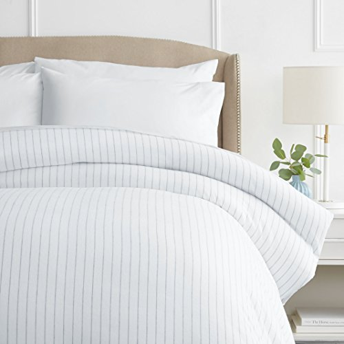 Pinzon 160 Gram Pinstripe Flannel Cotton Duvet Cover, Twin, White Pinstripe
