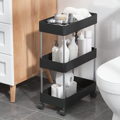 UDEAR Estantería de pie, con ruedas, baño, lavadero y cocina, lugar estrecho, 3 niveles, color negro