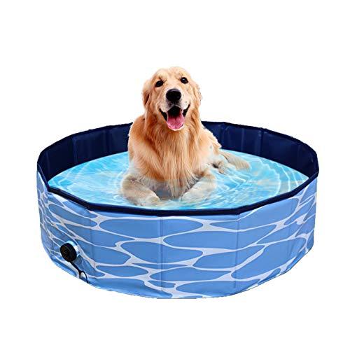 BYASW Foldable Pet Paddling Pool PVC Dog Swimming Pool Portable Bathing Tub Bathtub Garden Patio Bathroom for Pets Children Kid,120X30cm