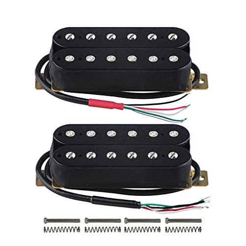 FLEOR Juego de mástil/puente (50 mm / 52 mm) Imán de cerámica de pastilla de guitarra Humbuckers de doble bobina para piezas de pastilla de guitarra eléctrica, negro